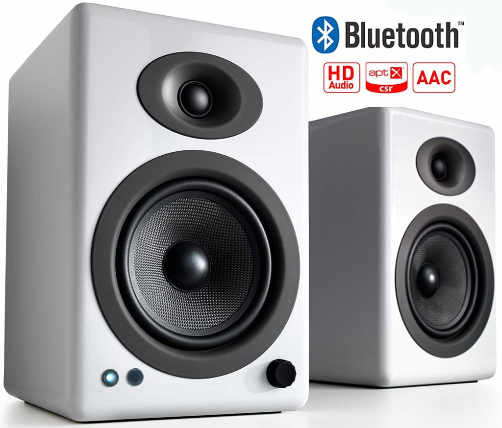 Bluetooth enabled Audioengine A5+ Wireless Powered Bookshelf Speakers