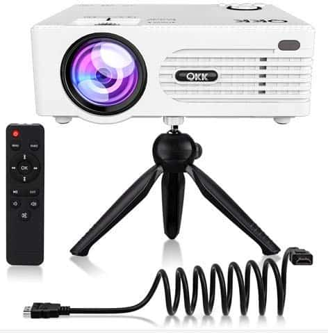 QKK [2019 Upgrade] Mini [with Tripod] LED Projector