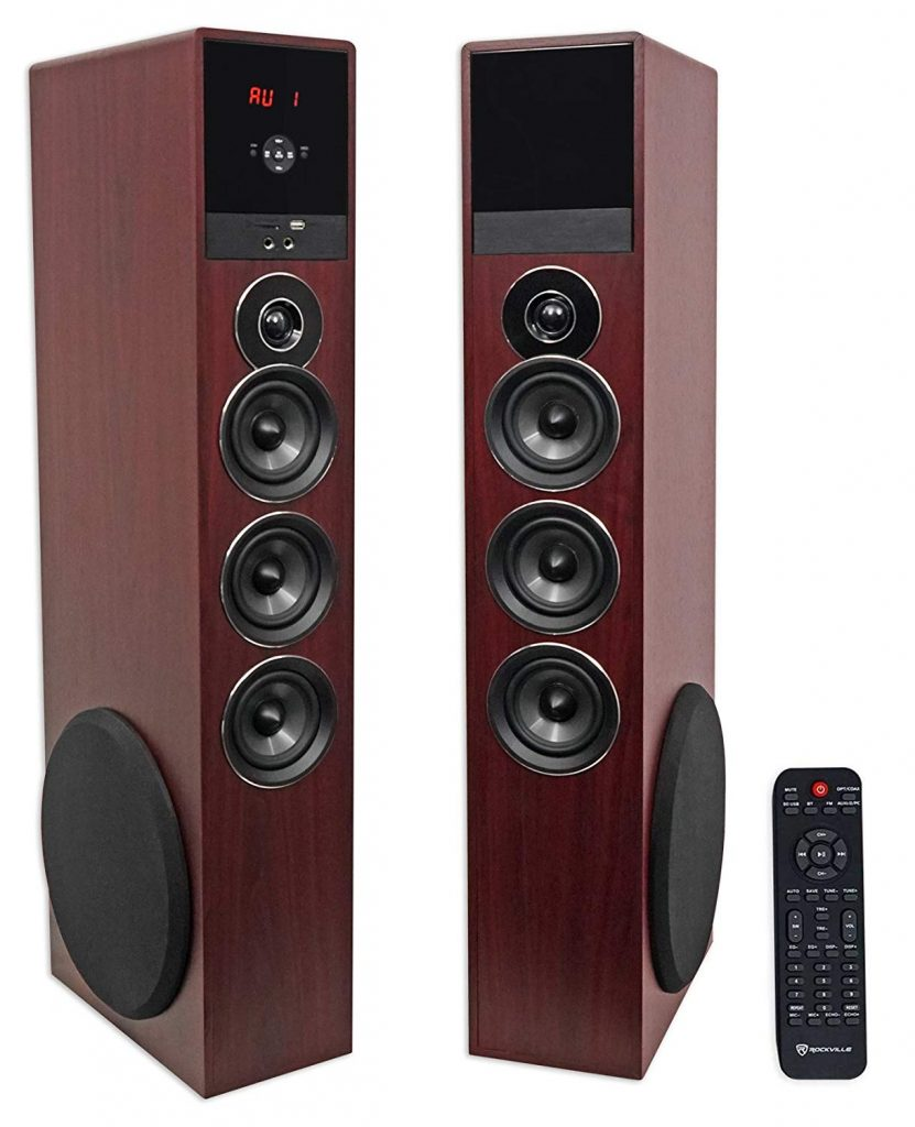 Rockville TM150C Powered Home Tower Theater Speakers