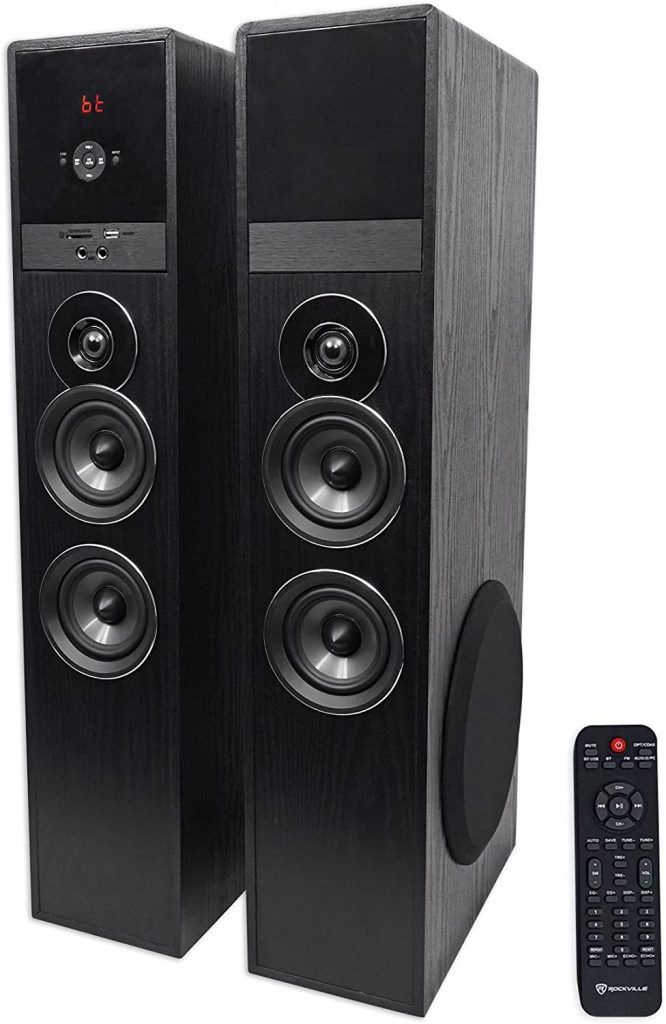 ROCKVILLE TM80B Black Home Theater Tower Speakers