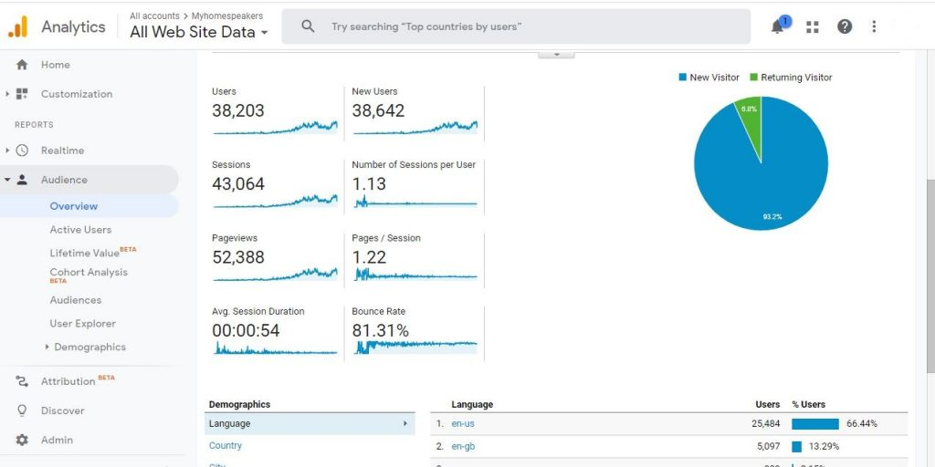 Our google analytics report